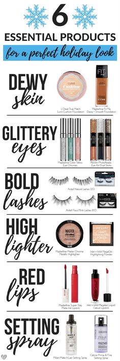 Create a perfect holiday makeup look from the drugstore with these 6 essentials! Time to add some sparkle and glow to your holiday look.