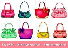 Handbag Clipart, Purse Clipart, Clip art, Designer Bags, Fashion, Scrapbooking, Party Invitations, Graphics, PNG JPEG, Download - by I365art