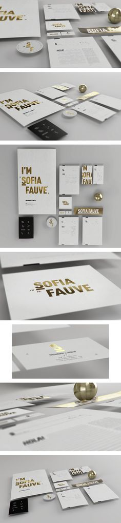 Difficile d'utiliser l'or de façon élégante snas basculer dnas le bling bling... et voilà ! Sofia Fauve Branding