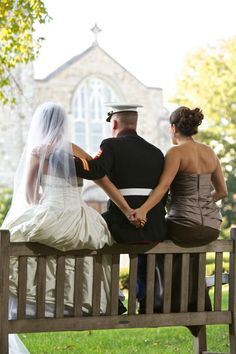 cute with bride and best friend or sister with husband in the middle