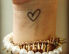 valentine heart tattoos, temporary tattoos, dainty love heart outline fake tattoo, small valentines day gift for her, happytatts