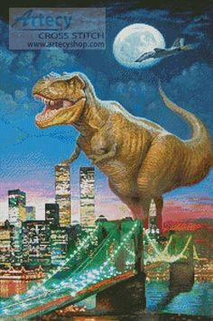 Dinosaur in New York - Cross Stitch Chart - Click Image to Close