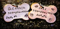 Pet ID Hand Stamped Custom Tag by CharmletteDesigns on Etsy, $9.75