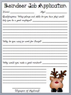 What the Teacher Wants!: Reindeer Job Application