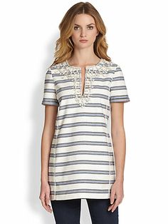 Tory Tunic Collection - Kirsten Embellished Striped Tunic - also Saks exclusive