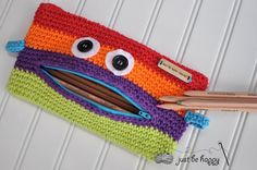 (4) Name: 'Crocheting : Monster Pencil Case