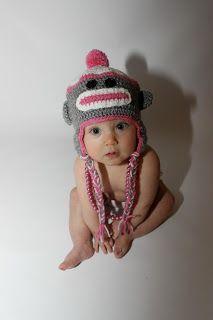 Crochet baby monkey hat