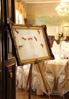 Sc höner Tischplan mit goldenem Bilderrahmen von #weddstyle. http://www.weddstyle.de/hochzeit-sitzplan-mieten.html