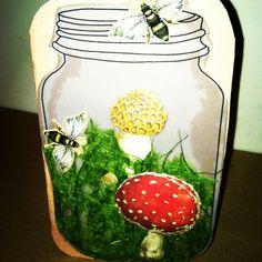 Mason jar mossy forest card.
