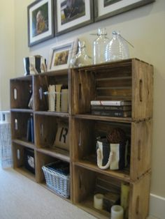 Bookshelves made from crates from Michaels. Simple stain made of coffe, wire brush and vinegar.