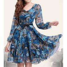 Floral Print Retro Style Puff Sleeve Chiffon Slimming Women's Dress