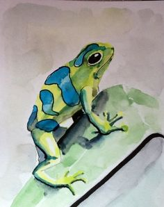 """Watercolors Paintings Original """" Poison Dart Frog Too"""", original watercolour painting,  5x7 in,  free shipping when purchased with another! on Etsy, $23.41"""