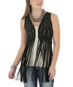 Another great find on #zulily! Black Embellished Fringe Vest by Wrangler #zulilyfinds