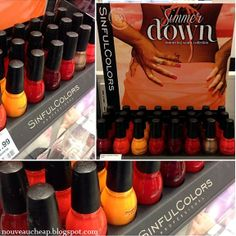 Sinful Colors Simmer Down collection (Summer 2014): Anchors Away, Big Daddy, Hot Chili, Coral Riff, Gold Medal, Ruby Glisten, Embers Only, and Gogo Girl