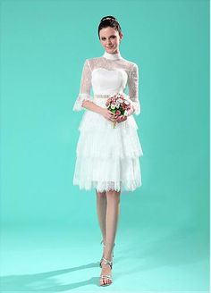 CHARMING SATIN LACE A-LINE ILLUSION HIGH NECKLINE NATURAL WAISTLINE WEDDING DRESS FORMAL PROM EVENING PARTY GOWN