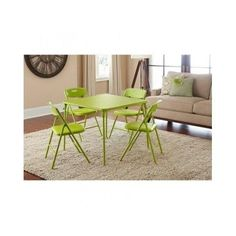 Folding Card Table And Chair 5 Piece Green Kitchen Dining Set Home Conversation #Cosco #Modern