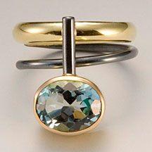 Ring | Janis Kerman. Sterling silver, 18k gold, blue topaz, patina