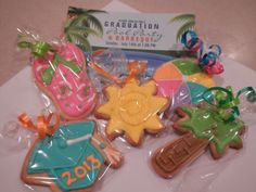 Graduation Pool Party Cookie Favors by MerciBeauCookies.blogspot.com