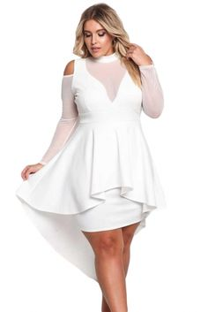 b829e3dc1befd White Plus Size Mesh Trim Hi-Lo Peplum Bodycon Dress STYLESIMO.com Robe A