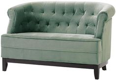 Emma tufted studio sofa from Home Decorators - at 50in wide this is a nice size for smaller rooms (also matching armchair & round ottoman)