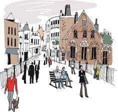 Vector illustration of Windsor Eton buildings, England.  photo