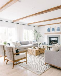 traditional meets modern living room decor, transitional living room decor, neutral living room design with modern armchair, ceiling beam, modern fire… – Living room Coastal Living Rooms, My Living Room, Living Room Decor, Target Living Room, Hamptons Living Room, Beach Living Room, Decor Room, Bedroom Decor, Living Room White Walls