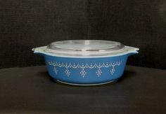 "Vintage Pyrex Casserole Dish Blue Garland Snowflake. This collectible Pyrex Casserole Dish measures about 6"" in diameter. It is in pretty good"