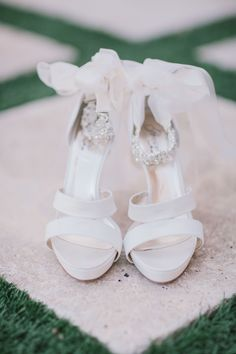 Shoes with ribbons and bling - see the wedding here: http://www.StyleMePretty.com/2014/05/14/garden-elegance-at-bella-collina/ #smp - Photography: ByTheRobinsons.com