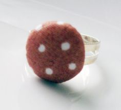 Buy 2 rings Get 1 free fabric dotted brown by rabbitsillusions, €2.00