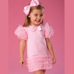 Personalized.  Mud Pie Pretty In Pink Tiered Mesh Dress.