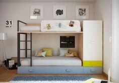 Dormitorio infantil con litera moderna y funcional - Tetris Systems SL