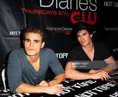 Actors Paul Wesley and Ian Somerhalder meet and greet fans at Vampire Diaries Season 2 Cast Tour at Hot Topic store at Sunset Place on October 23, 2010 in Miami, Florida.