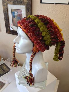 Colorful Crocheted Hat With Tassels and Ear Flaps for Adult or Teen on Etsy, $90.00