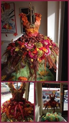 Destination Wedding Ideas in floral orange, red and pinks. Create this Flower Fairy dress and centerpiece decor. Match up wedding cake and aisle with flowers. Deco Floral, Floral Design, Costume Original, Christmas Tree Dress, Fantasy Costumes, Fairy Costumes, Forest Fairy Costume, Fairy Costume Diy, Fairy Clothes
