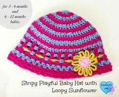 Stripy Playful Baby Hat with Loopy Flower ~ Erangi Udeshika