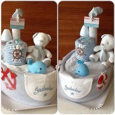 boat diaper cake Boat Diaper Cake, Baby Nappy Cakes, Unique Diaper Cakes, Diy Diaper Cake, Cake Baby, Baby Shower Cakes For Boys, Boy Baby Shower Themes, Baby Boy Shower, Baby Shower Gifts