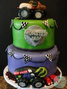 Monster Jam Birthday Cake- @Amber Williams-Freund; maybe for a future bday party for charlie?? Monster Trucks?