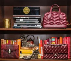 Inside the closet of W Magazine Accessories and Jewelry director Claudia Mata: Mata's collection is truly impressive—the woman has been collecting throughout her entire career and knows the industry and designers inside out, from Monique Pean and Foundrae to Alison Lou and Kimberly McDonald. It's mostly fine, and it's all jaw-droppingly beautiful. -- Burgundy Chanel purse and burgundy clutch. | Coveteur.com