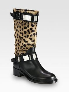 Giambattista Valli Leopard-Print Pony Hair and Leather Knee-High Motorcycle Boots