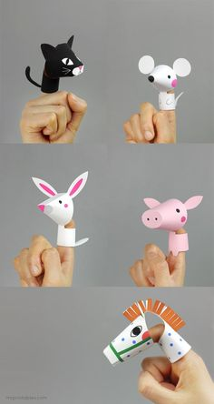 DIY Toy : DIY Farm Animal Finger Puppets