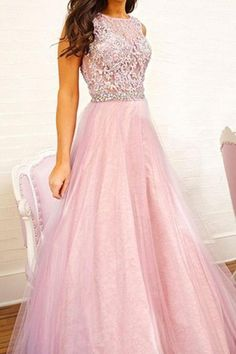 Pink Prom Dress, Long Prom Dress, Tulle Prom Dress, Cheap Prom Dress, Prom Dress Online, 2016 Prom Dress