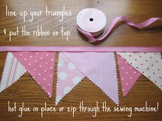 leaf and letter handmade: on the cheap: fabric pennant banner. use glue Fabric Crafts, Sewing Crafts, Sewing Projects, Craft Projects, Paper Crafts, Diy Crafts, Bunting Garland, Fabric Bunting, Heart Garland