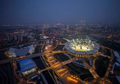 Aerial view of  the new Olympic Stadium at night, London. © Jason Hawkes