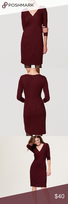 Maroon Wrap Dress Beautifully draped maroon wrap dress with side shirring. Sleeves are 3/4 in length and there is a zipper up the back. Hits above the knee. Could fit a size small. LOFT Dresses Long Sleeve