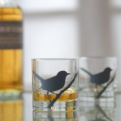 wren bird glasses charcoal set of 2 old fashioned by vital on Etsy, $21.00