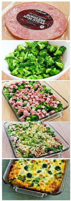 Brocoli, jambon, mozzarella, oignon et œufs au four
