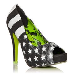 """Pledge allegiance to rock star style in this open-toe pump. The distressed stars-and-stripes print displays your independent attitude, while the wrapped platform and vibrant green sole convey your love of cool elements. Slip into Rockstar for headlining any performance!    SHOE DETAILS  Approx. Heel Height: 4""""  Approx. Platform Height: 1/2  Runs True To Size  Synthetic Upper  Man Made Sole  Imported"""