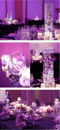 Purple Wedding Decor - love how the purple looks with the lighting and the centerpieces are just gorgeous.