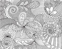 Coloring Page Printable Zentangle Inspired Instant by JoArtyJo