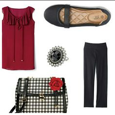 Spring it on!    Great outfit and accessories for any occasion.    A. Romantic Ruffle Blouse in Women's $24.99  B. The Signature Avery Pant  $39.99  C. Elegant Gingham Bag $39.99  D. Cushion Walk® Kimmy Little Lift Shoe $24.99  E.Sleek and Polished Ring $19.99  Place your order with me today or shop online at http://youravon.com/lriojasnoriega